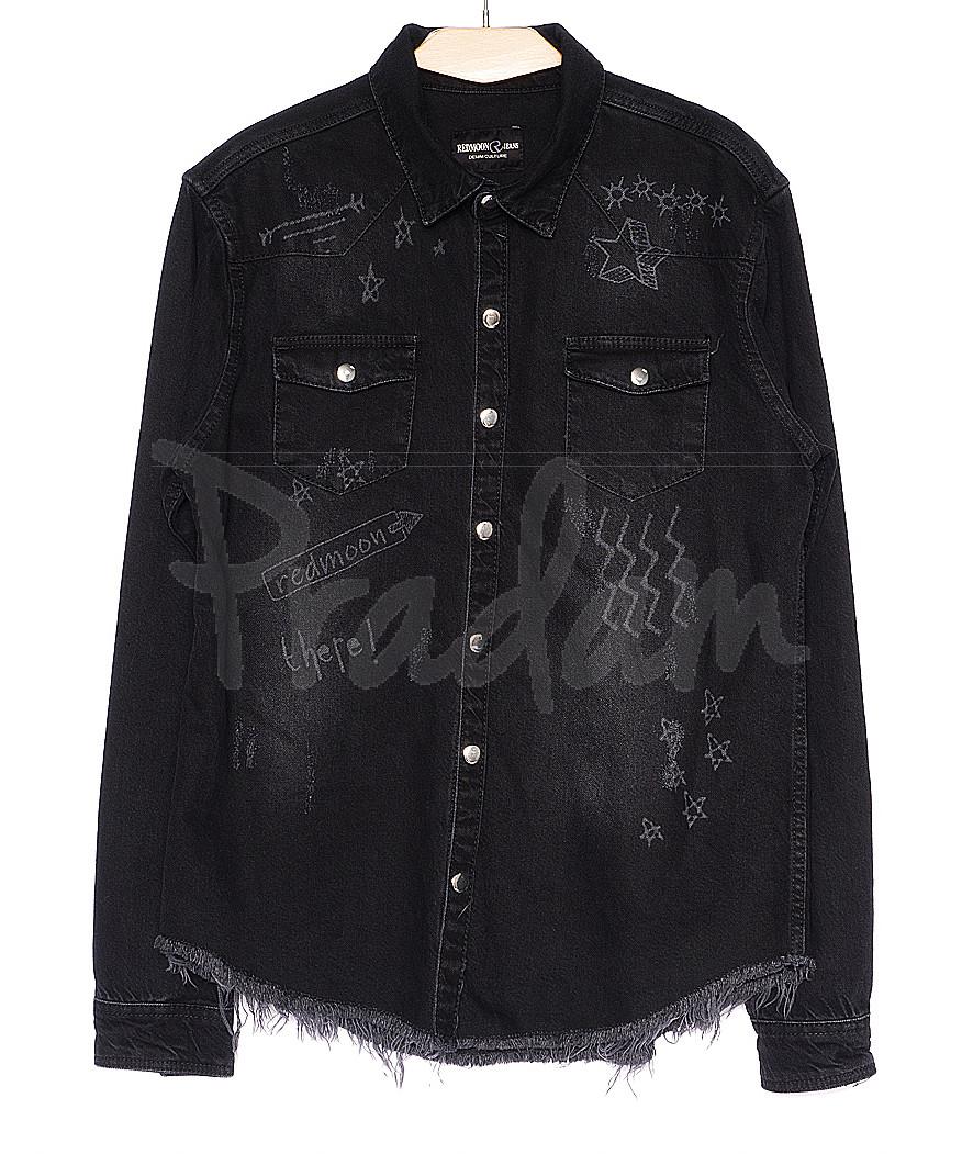 cf610007e9b 0376 темно-серая с рисунком Redmoon рубашка джинсовая мужская котоновая  (S-XL