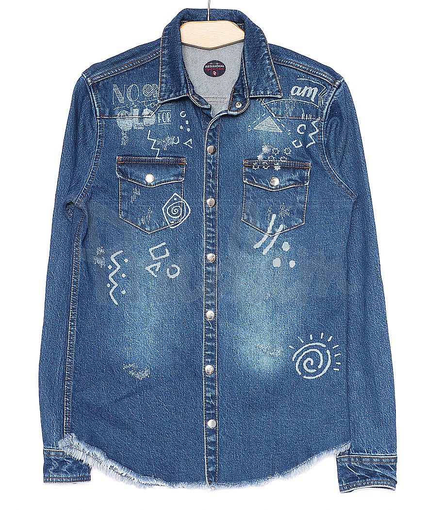 3445bdf6152 0375 светлая с рисунком Redmoon рубашка джинсовая мужская котоновая (S-XL