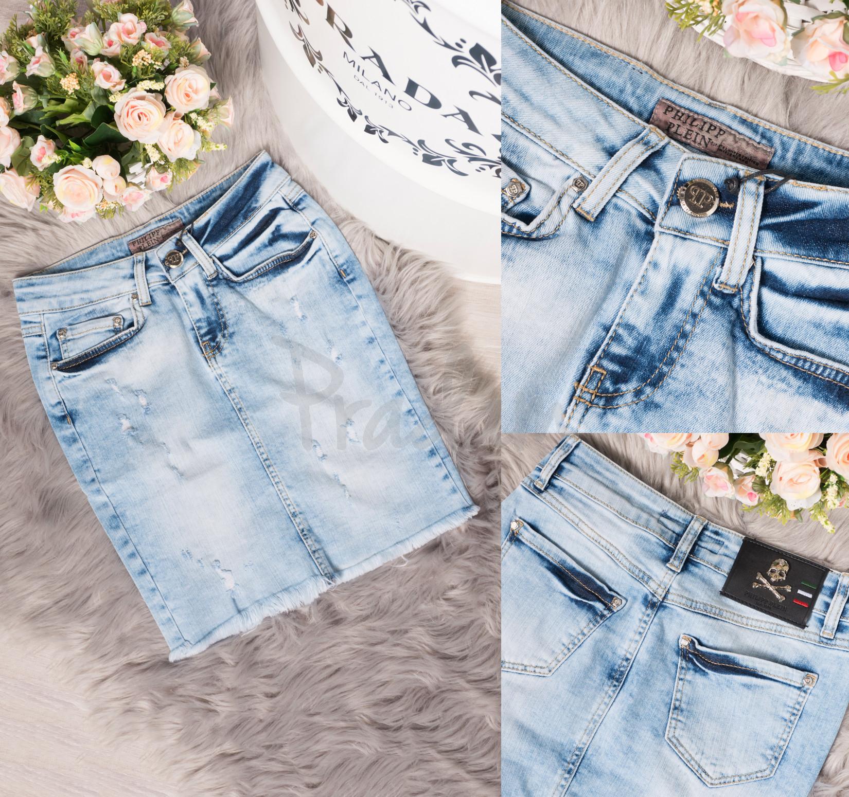 0772 Philipp Plein юбка джинсовая с царапками летняя стрейчевая (26-30, 5 ед.)