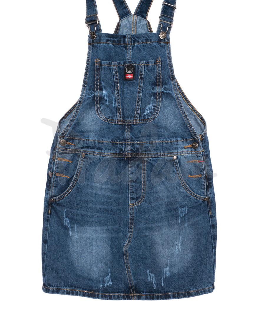 0226-1 Relucky комбинезон-юбка джинсовый с царапками осенний стрейчевый (25-30, 6 ед.)