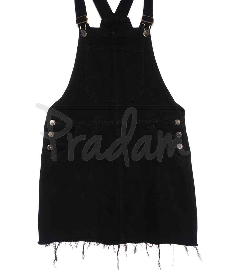 Y 0231-1 Relucky комбинезон-юбка джинсовый черный осенний стрейчевый (25-30, 6 ед.)