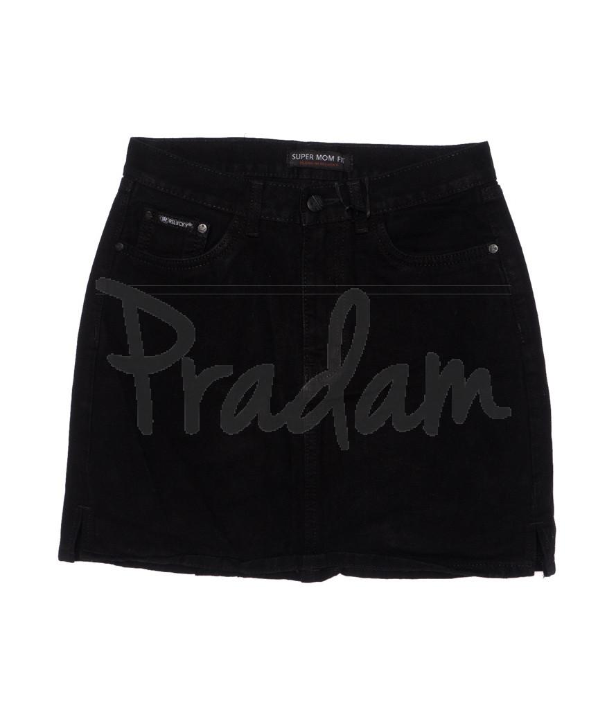 0406-1 Relucky юбка джинсовая черная осенняя котоновая (25-30, 6 ед.)