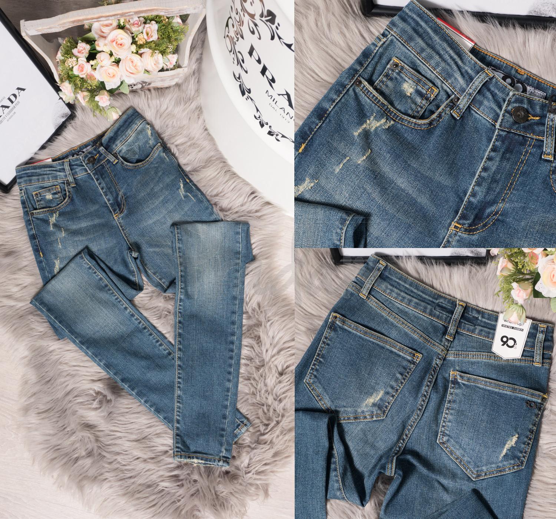 0012 Whats up 90s джинсы женские зауженные с царапками весенние стрейчевые (26-30, 5 ед.)