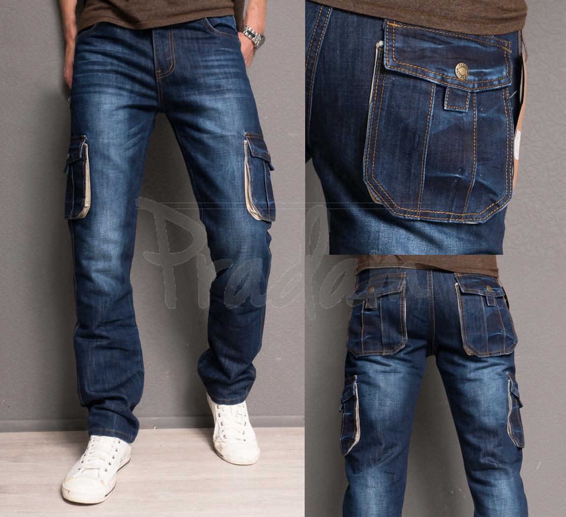 5003 Attrend джинсы мужские с накладными карманами весенние котоновые (29-34, 6 ед.)