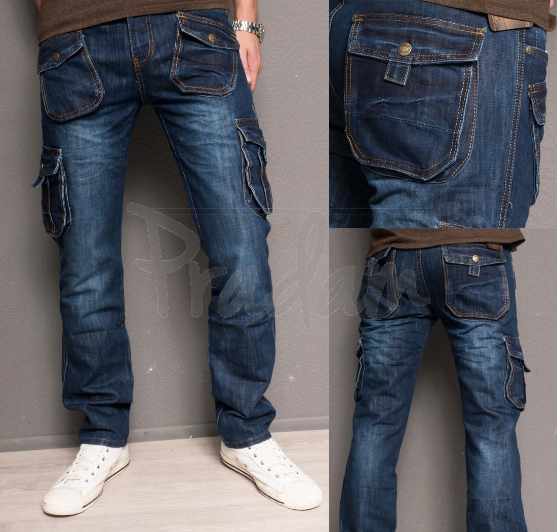 5002 Attrend джинсы мужские молодежные с накладными карманами весенние котоновые (28-36, 8 ед.)