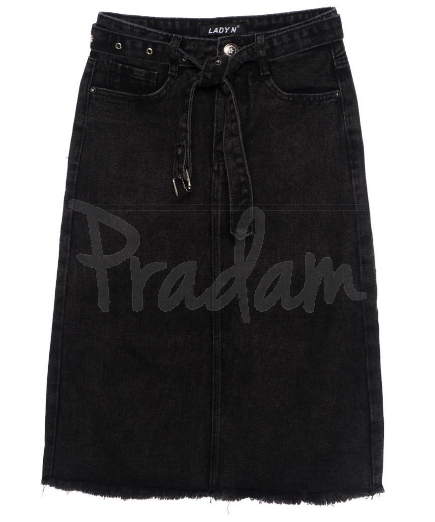 1397 Lady N юбка джинсовая черная осенняя котоновая (25-30, 6 ед.)
