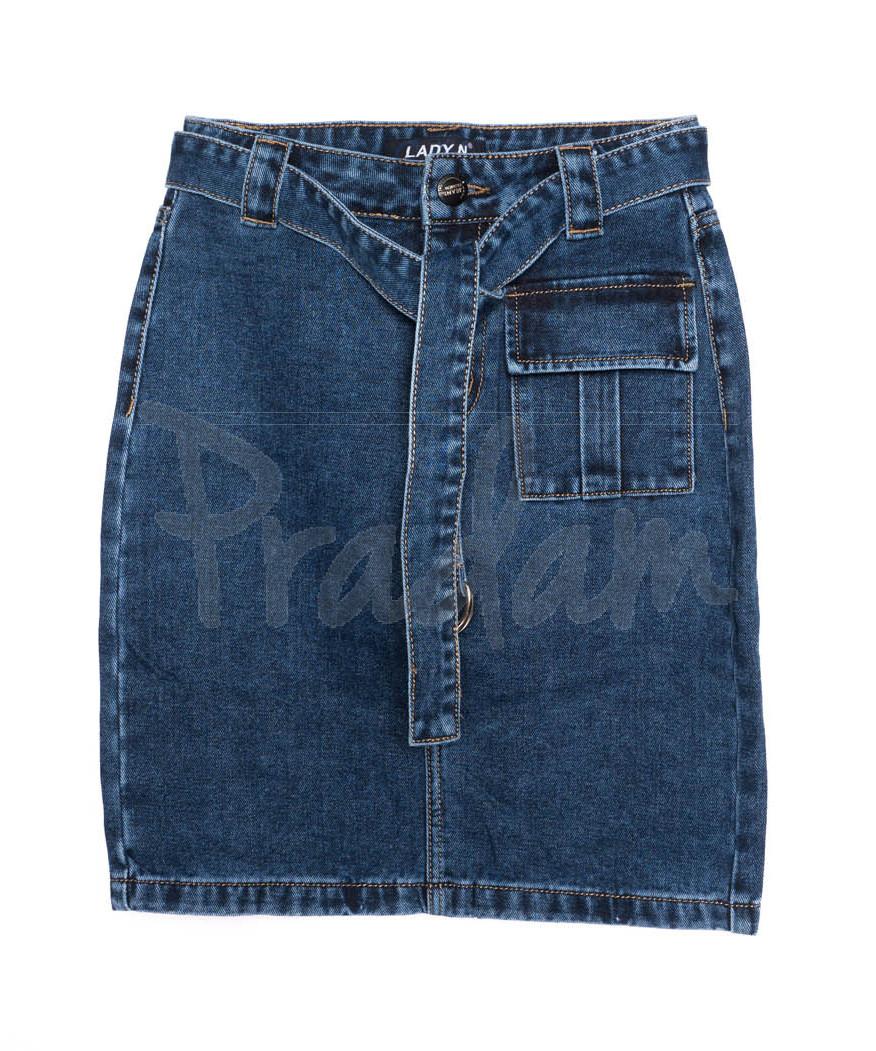 1402 Lady N юбка джинсовая с поясом синяя осенняя котоновая(25-30, 6 ед.)