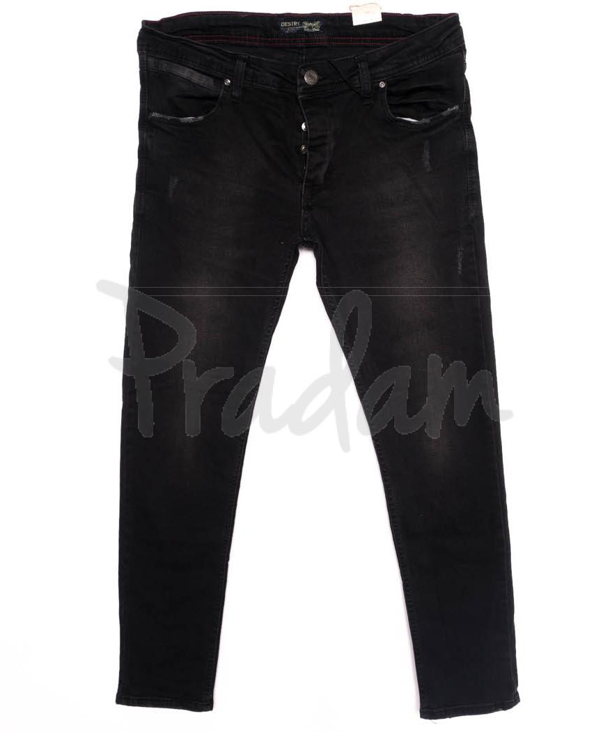 5916 Denim джинсы мужские батальные с царапками черные осенние стрейчевые (32-40, 8 ед.)