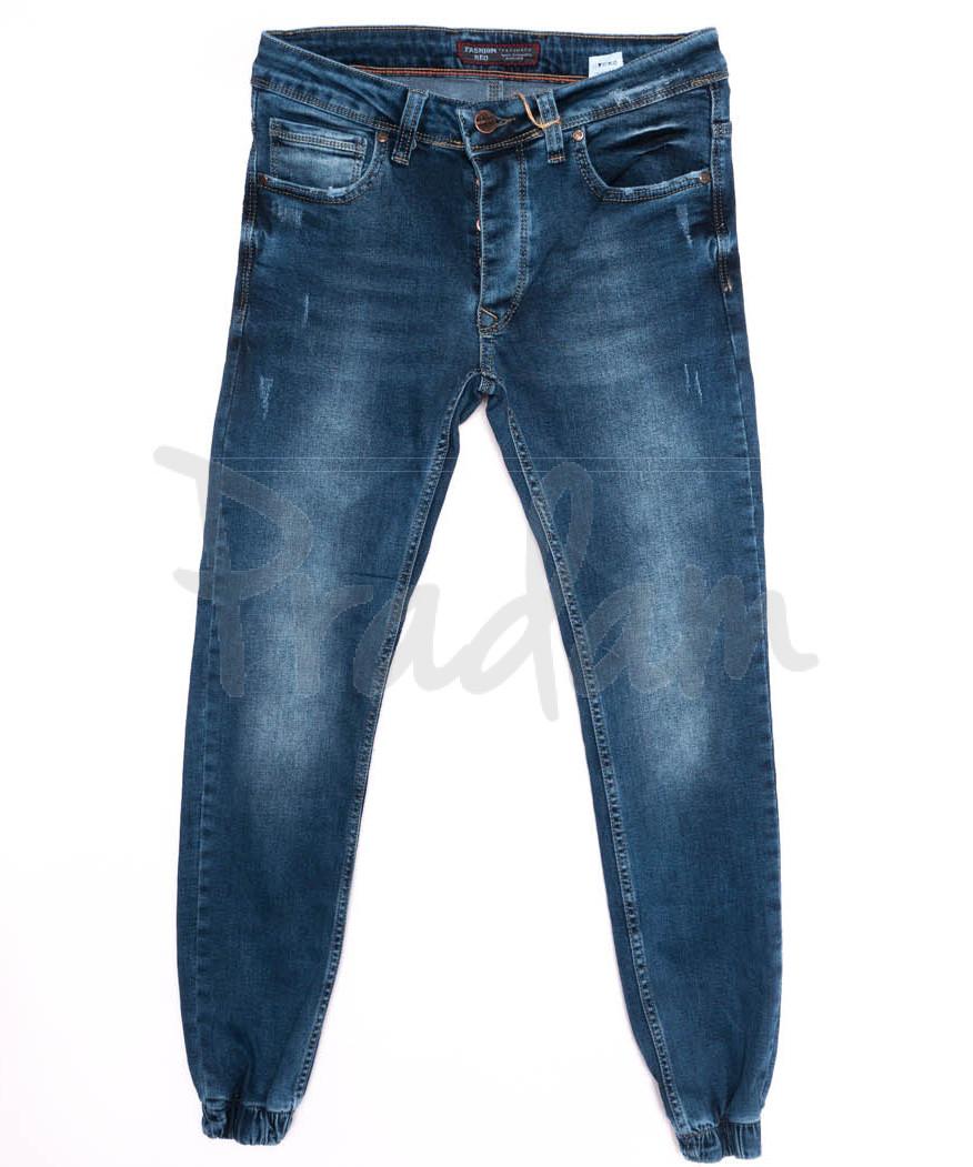 5801 Denim джинсы мужские с царапками на резинке синие осенние стрейчевые (29-36, 8 ед.)