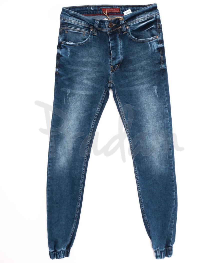 5799 Denim джинсы мужские с царапками на резинке синие осенние стрейчевые (29-36, 8 ед.)