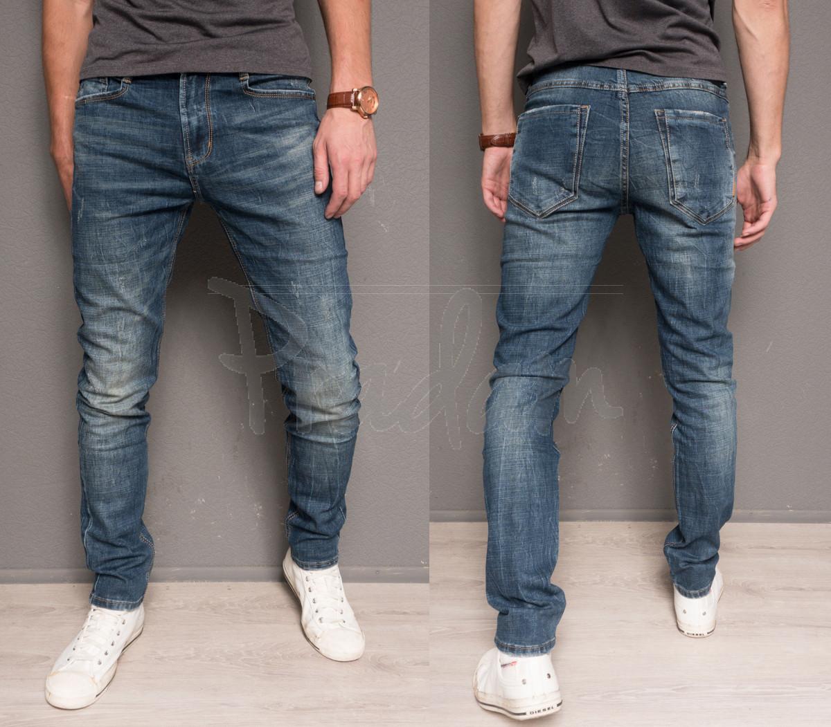 0004 Top Star джинсы мужские молодежные с царапками осенние стрейчевые (27-34, 8 ед.)