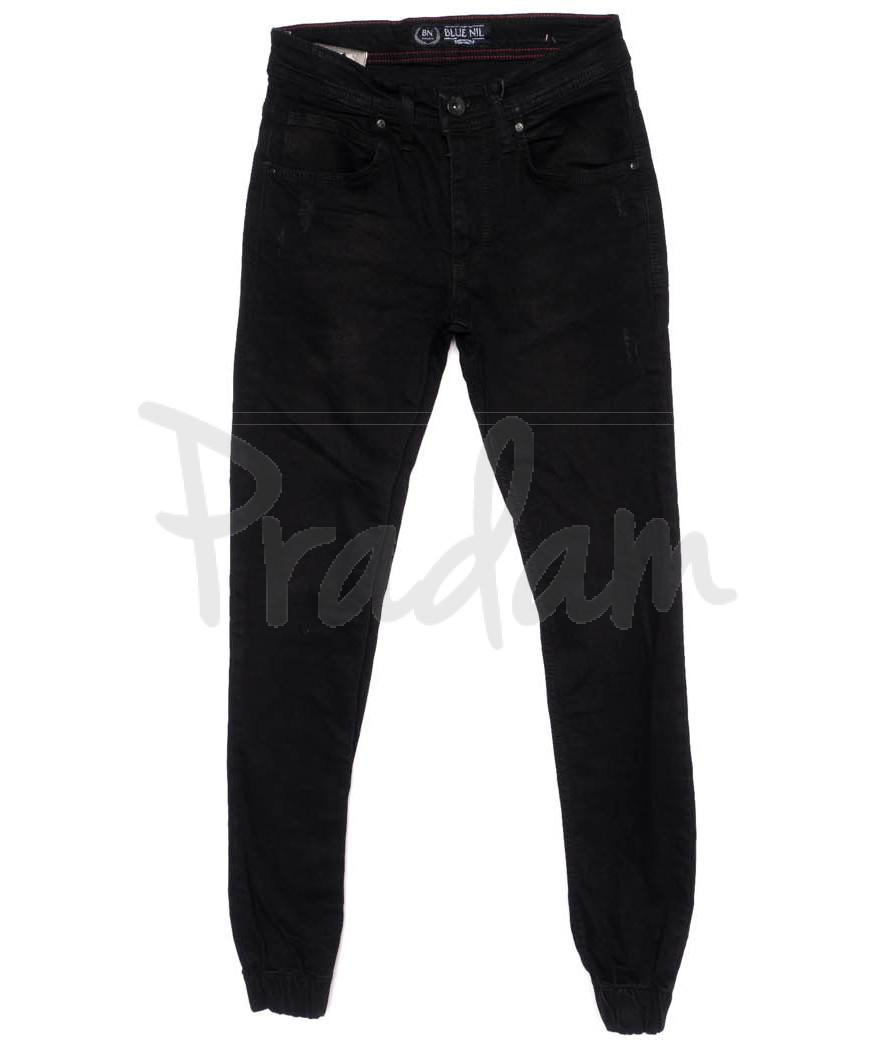 6197-R Blue Nil джинсы мужские с царапками на резинке черные осенние стрейчевые (29-36, 8 ед.)