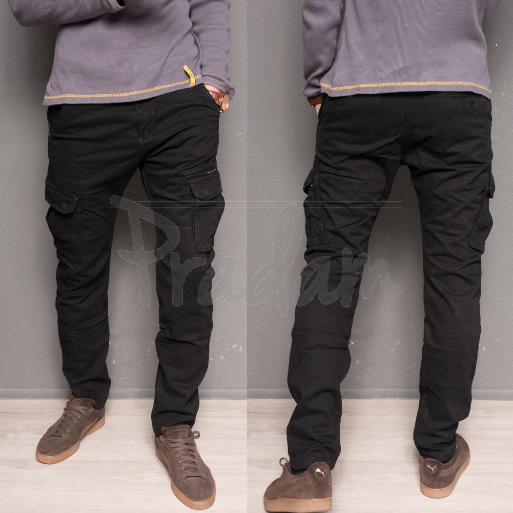 1869-black Forex брюки мужские молодежные карго на флисе зимние стрейч-котон (28-40, 10 ед.)