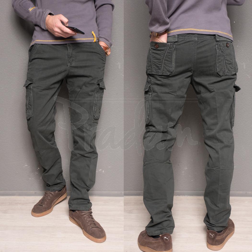 1863-dark grey Forex брюки мужские карго на флисе зимние стрейч-котон (30-40, 10 ед.)