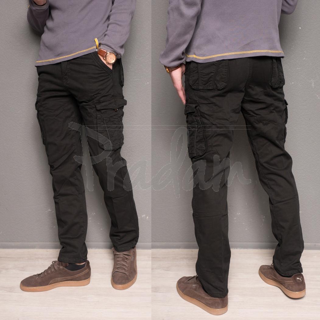 1863-black Forex брюки мужские карго на флисе зимние стрейч-котон (30-40, 10 ед.)
