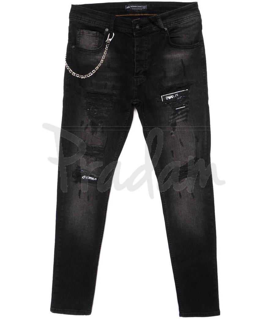 5418 Redman джинсы мужские с рванкой модные темно-серые осенние стрейчевые (29-36, 8 ед.)