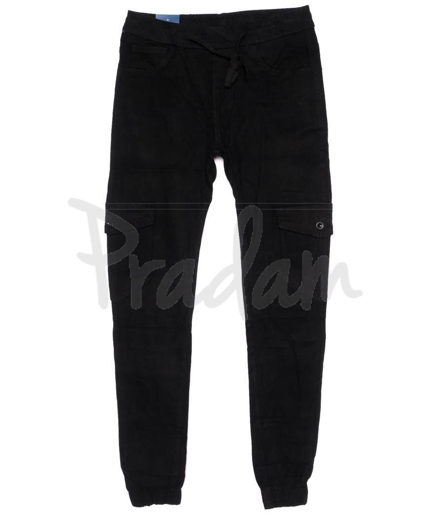 6609-1 REIGOUSE джинсы мужские молодежные на резинке черные осенние стрейчевые (29-38, 8 ед)