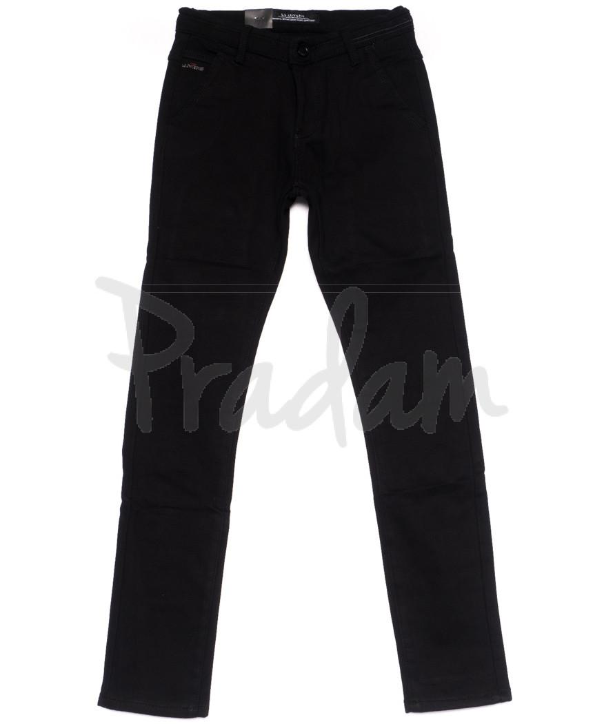 4007 LS брюки мужские молодежные черные на флисе зимние стрейч-котон (28-36, 8 ед)