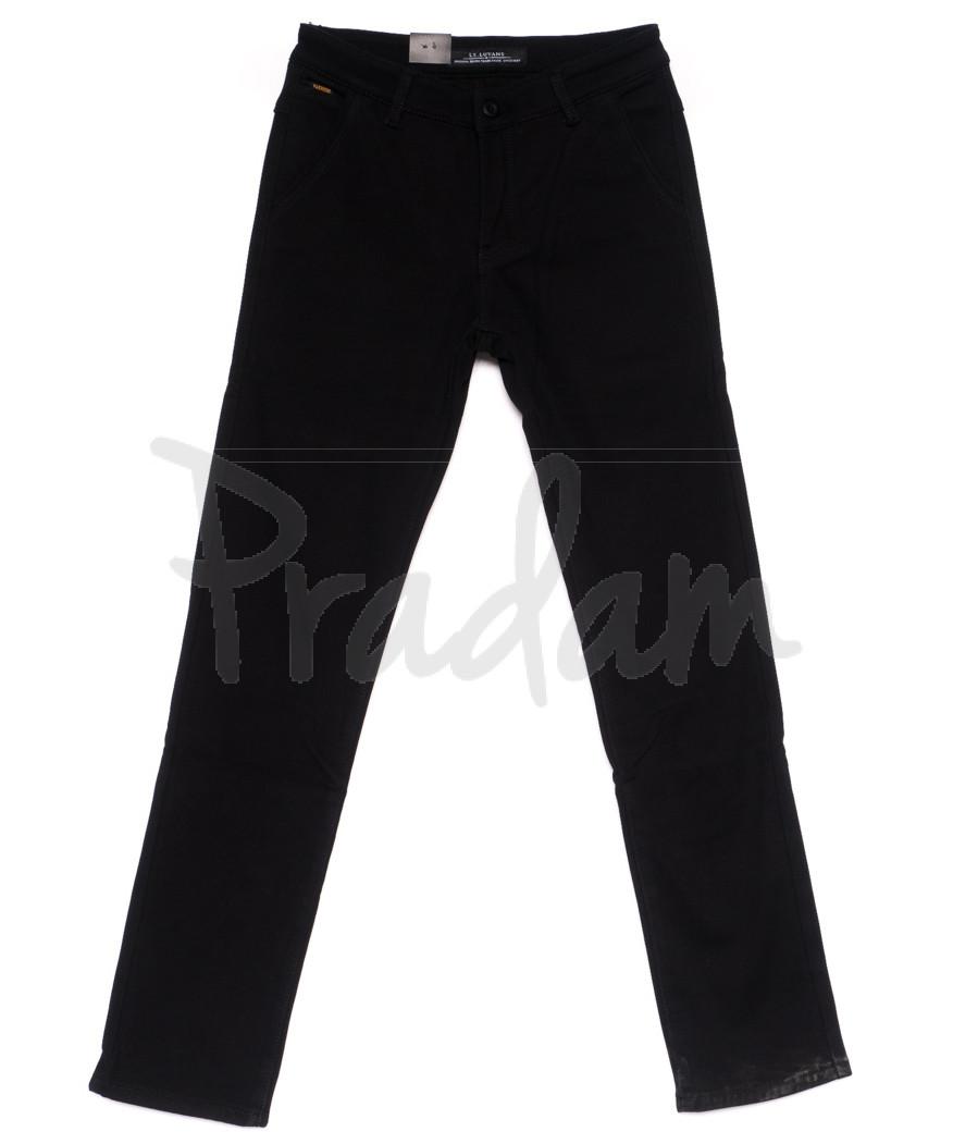 4009 LS брюки мужские темно-синие на флисе зимние стрейч-котон (29-38, 8 ед)