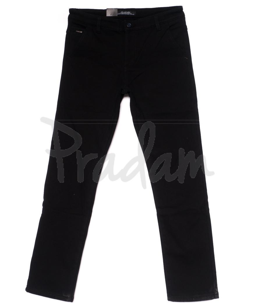 4010 LS брюки мужские полубатальные черные на флисе зимние стрейч-котон (32-38, 8 ед)