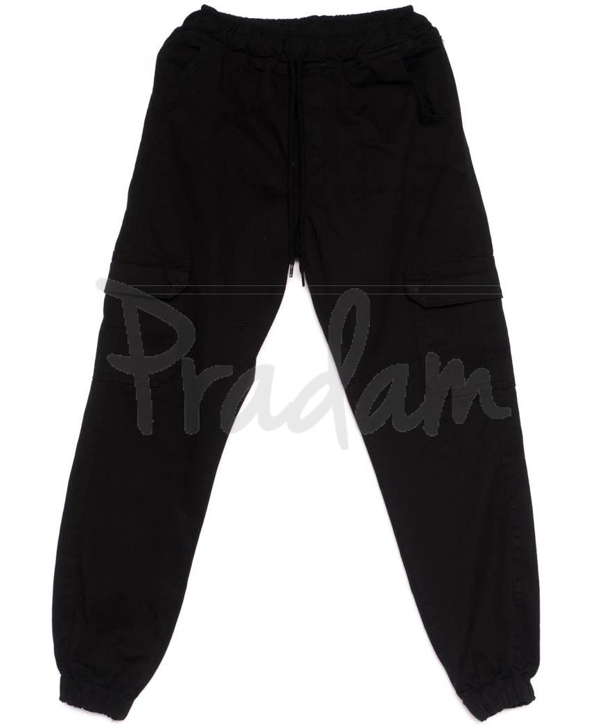 6646 YMR брюки на резинке с карманами черные осенние котоновые (34-40, евро, 7 ед.)