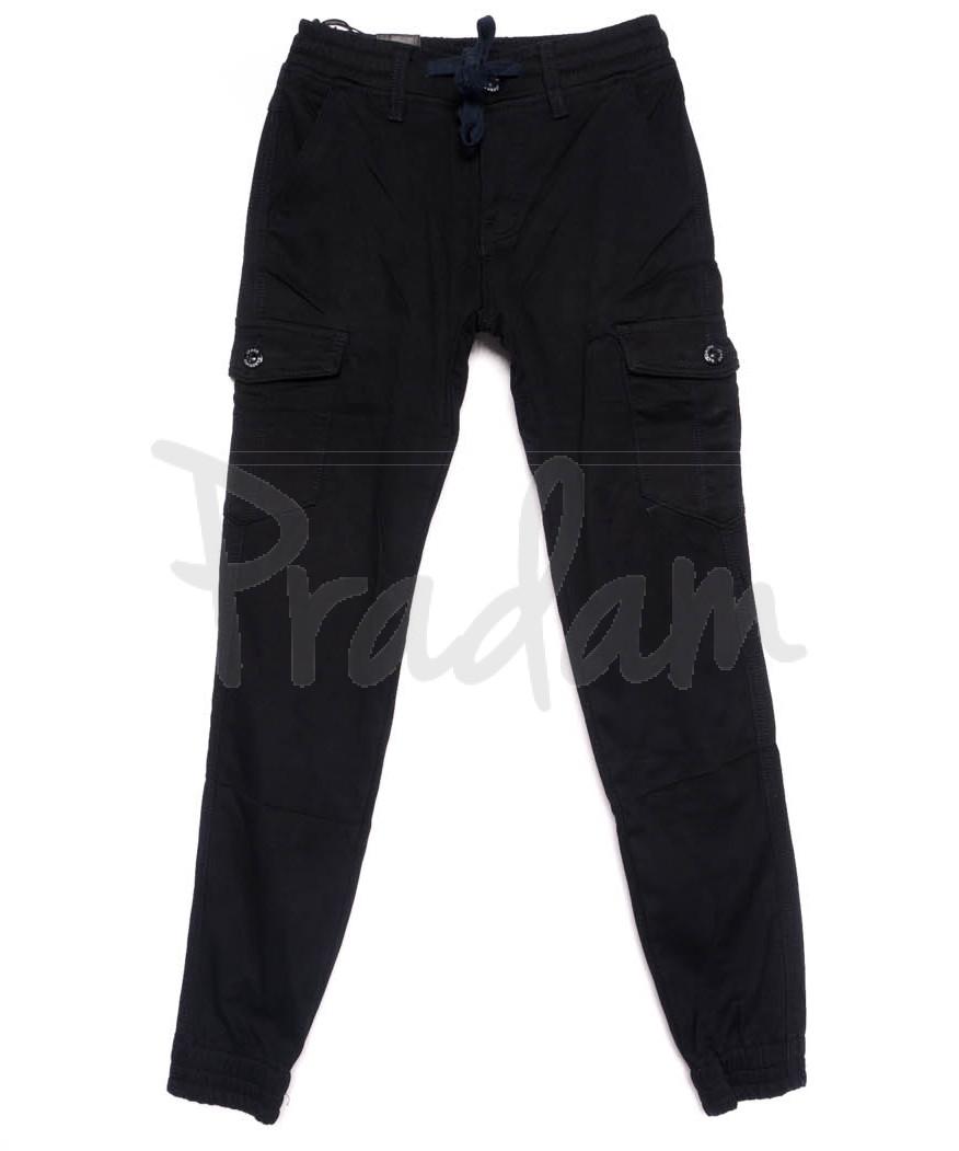 6172 Baron брюки мужские молодежные темно-синие на байке зимние стрейчевые (27-34, 8 ед.)