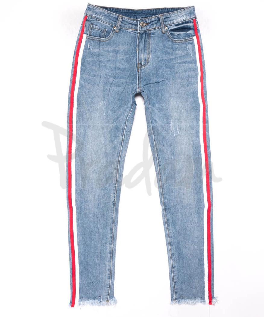 3587 New jeans мом с лампасами голубой с царапками весенний коттоновый (25-30, 6 ед.)