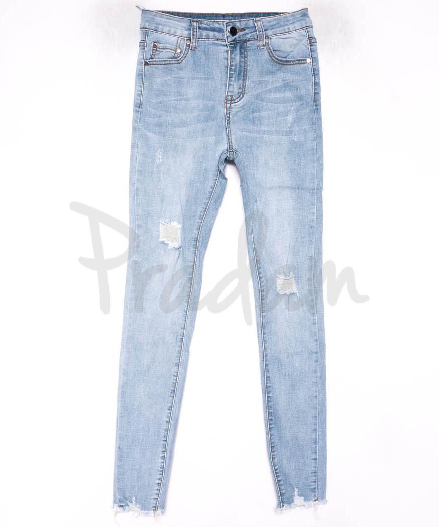 3598 New jeans американка голубая с царапками весенняя стрейчевая (25-30, 6 ед.)