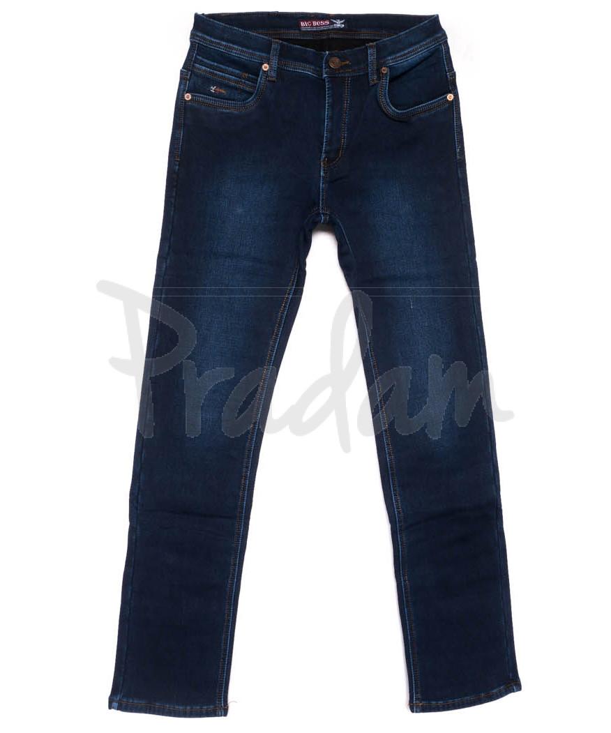 3721 Bigboss джинсы мужские полубатальные синие на флисе зимние стрейчевые (32-38, 8 ед.)