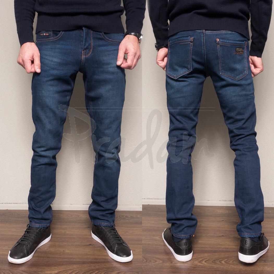 2087 Dsouaviet джинсы мужские синие на флисе зимние стрейчевые (29-38, 8 ед.)