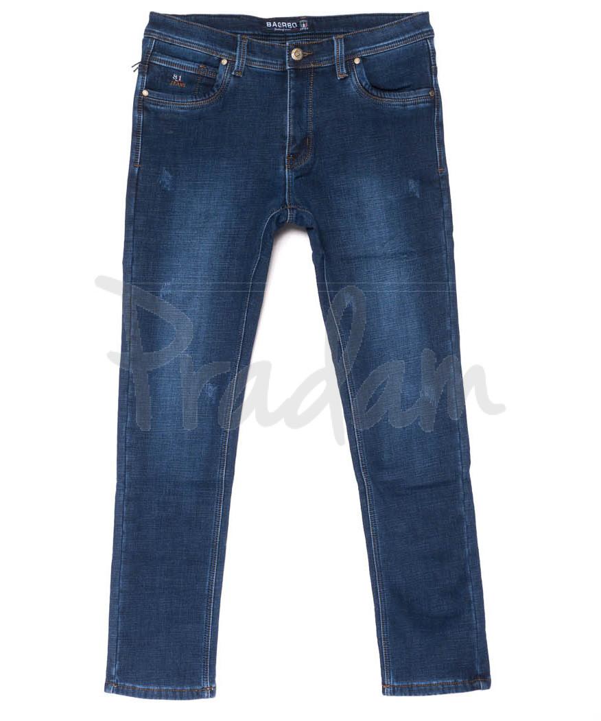 3565 Bagrbo джинсы мужские синие молодежные с царапками на флисе зимние стрейчевые (28-36, 8 ед.)