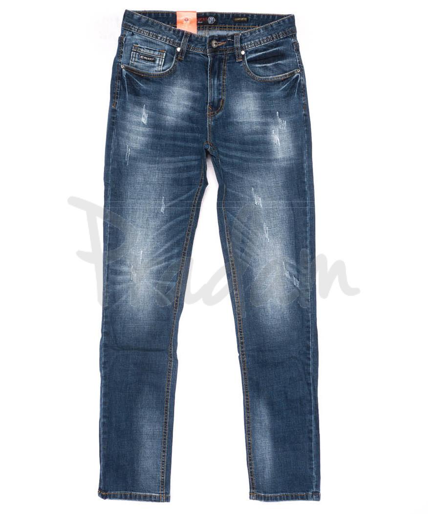 9906-3 R Relucky джинсы мужские с царапками синие весенние стрейчевые (29-38, 8 ед.)