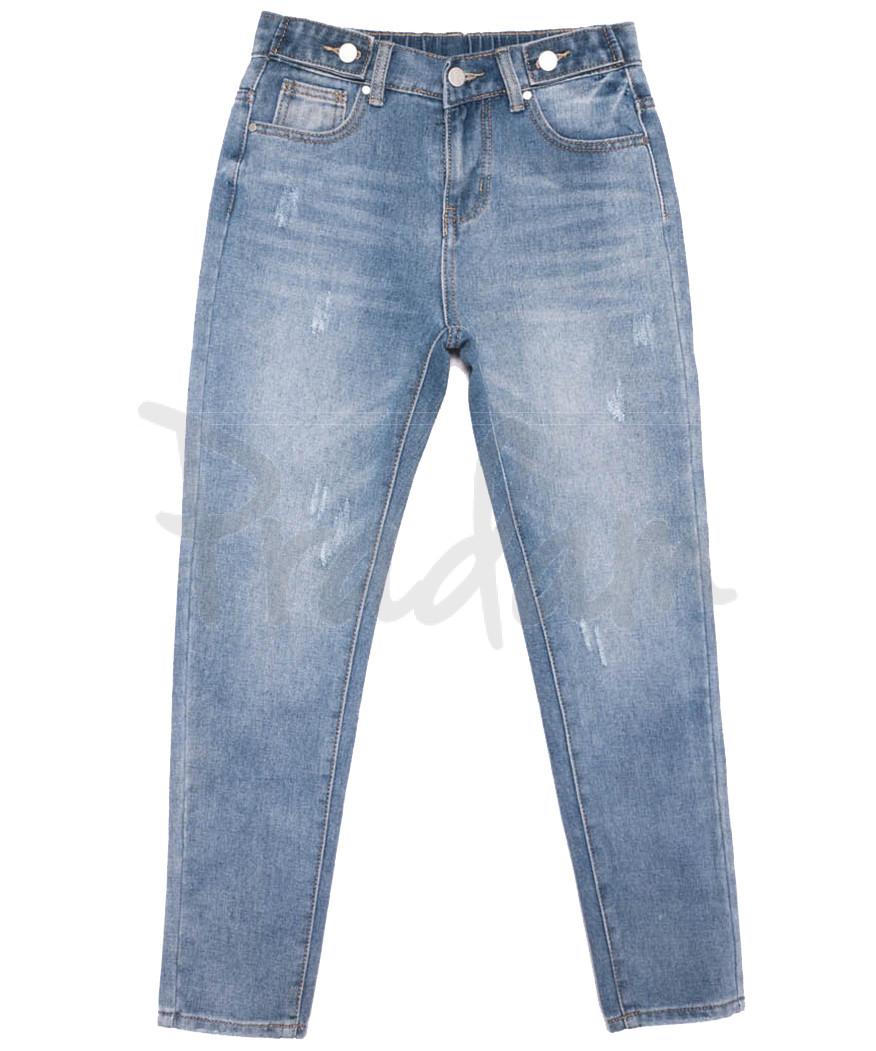 3653 New jeans мом с царапками синий весенний коттоновый (25-30, 6 ед.)
