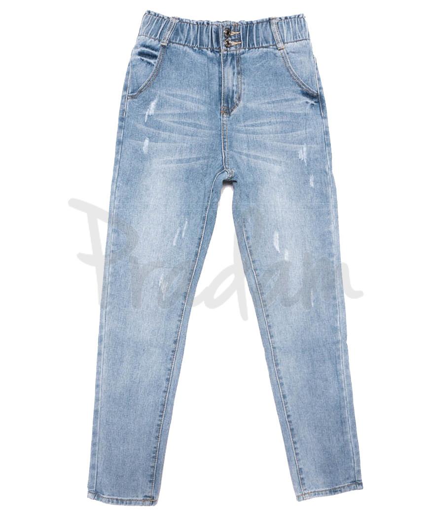 3629 New jeans мом с царапками синий весенний коттоновый (25-30, 6 ед.)