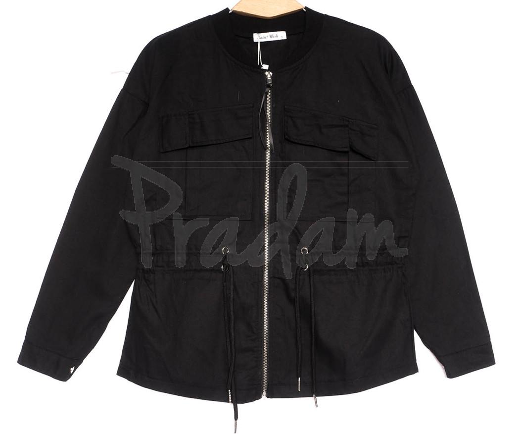 19199 Saint Wish куртка джинсовая женская черная весенняя коттоновая (S-2XL, 5 ед.)