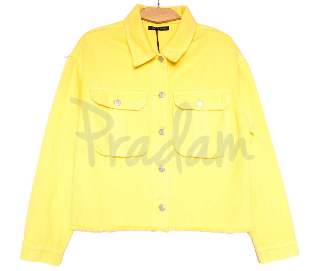 9020-5 Saint Wish куртка джинсовая женская желтая весенняя коттоновая (ХS-XL, 5 ед.)