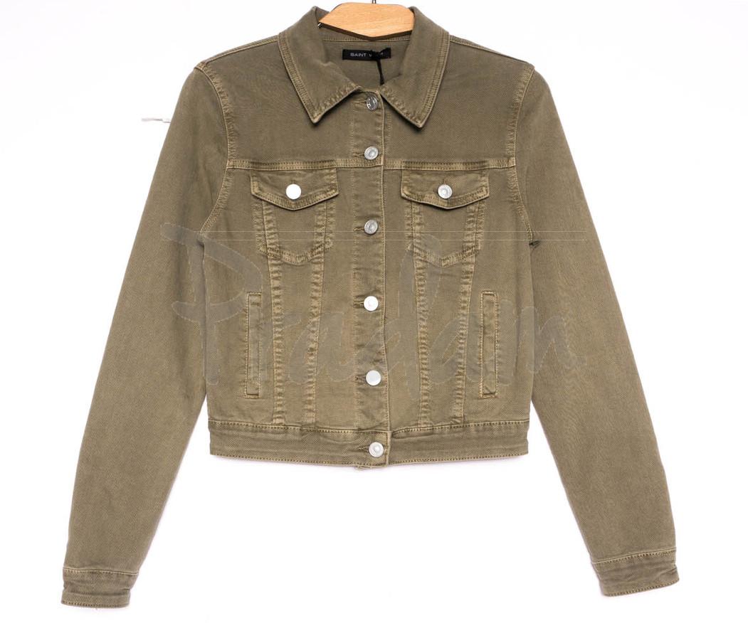 9035-11 Saint Wish куртка джинсовая женская хаки весенняя стрейчевая (ХS-XL, 5 ед.)