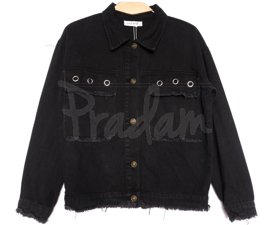 6165 Saint Wish куртка джинсовая женская черная весенняя коттоновая (ХS-XL, 4 ед.)