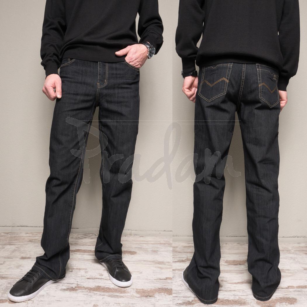 17009 (B) черные батал WVS джинсы мужские батальные черные весенние стрейчевые (36-42, 4 ед.)