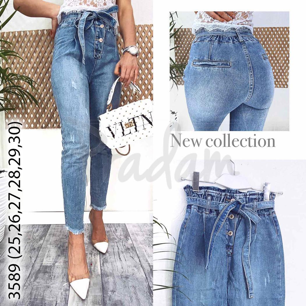 3589-01 New jeans мом голубой с царапками весенний коттоновый (28,29, 2 ед.)