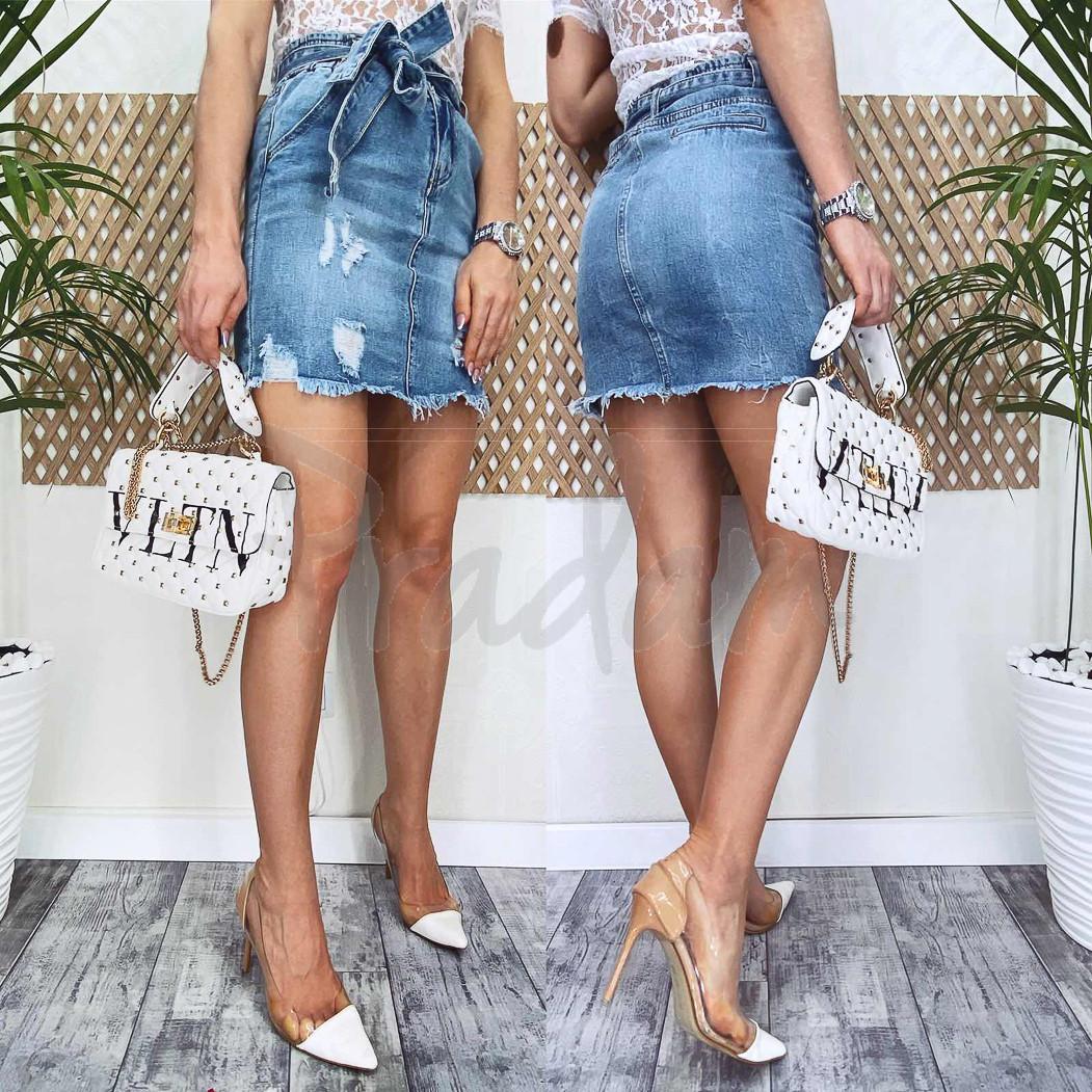 3713 New Jeans юбка джинсовая синяя весенняя коттоновая (25-30, 6 ед.)