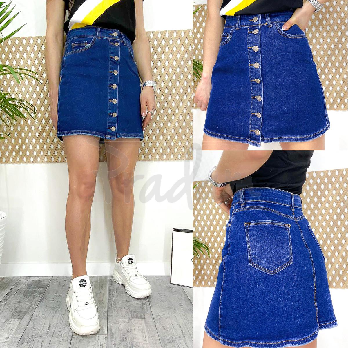 0590 Arox юбка джинсовая на пуговицах синяя весенняя стрейчевая (34-40, евро, 4 ед.)