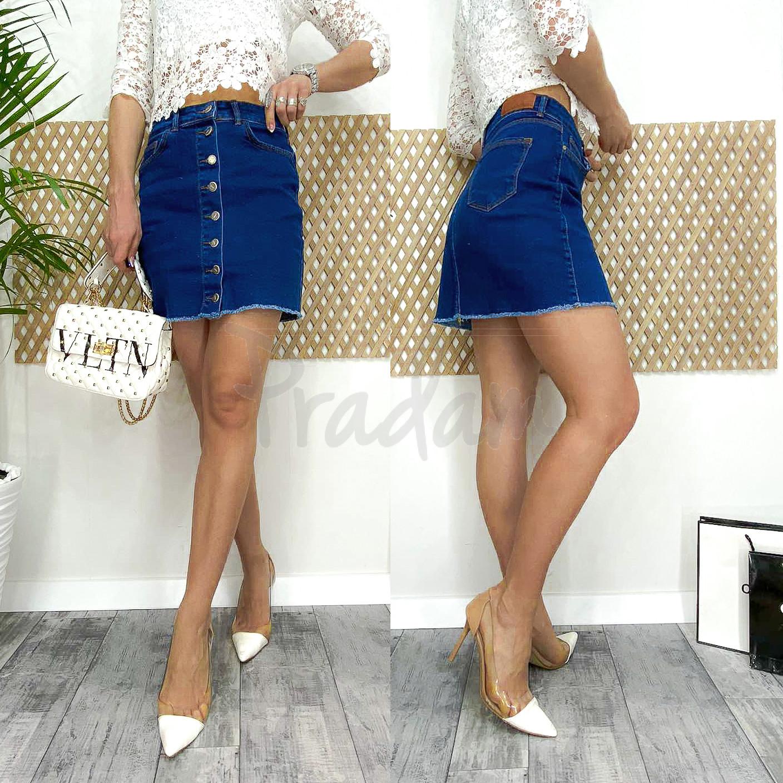 0590-3 Arox юбка джинсовая на пуговицах синяя весенняя стрейчевая (34-40, евро, 4 ед.)