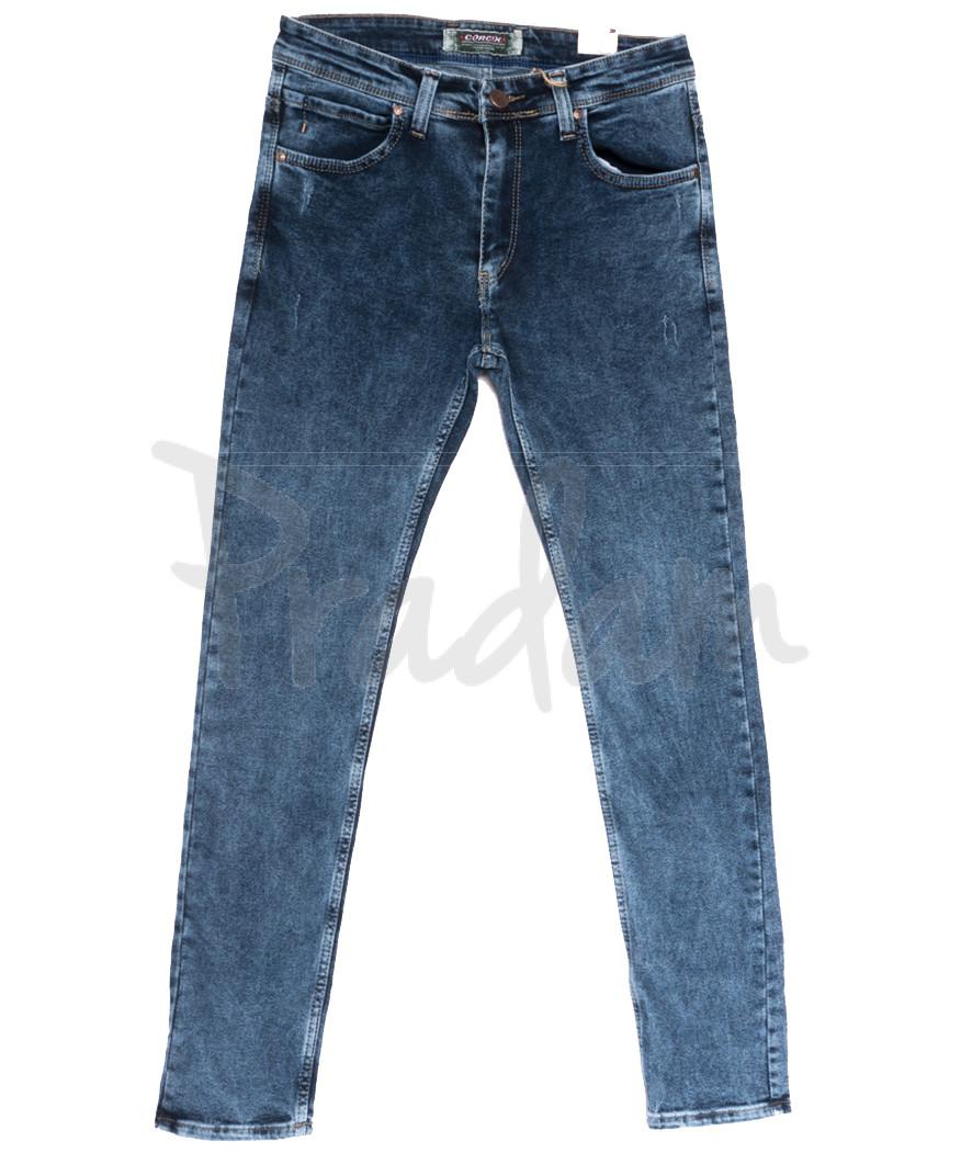 6730 Corcix джинсы мужские полубатальные синие весенние стрейчевые (32-40, 8 ед.)