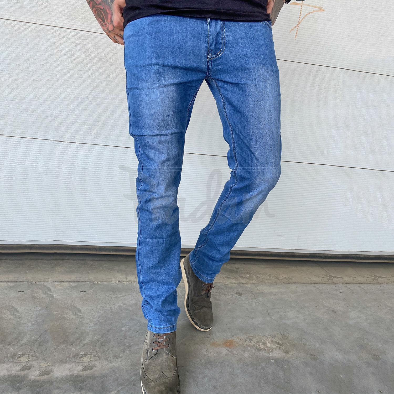 6008 Pobeda джинсы мужские полубатальные синие весенние стрейчевые (32-40, 8 ед.)