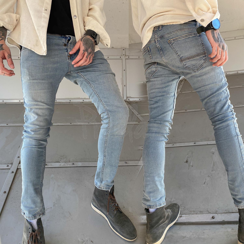 0242 (223) Pirate джинсы мужские серо-синие весенние стрейчевые (32-36, 8 ед.)