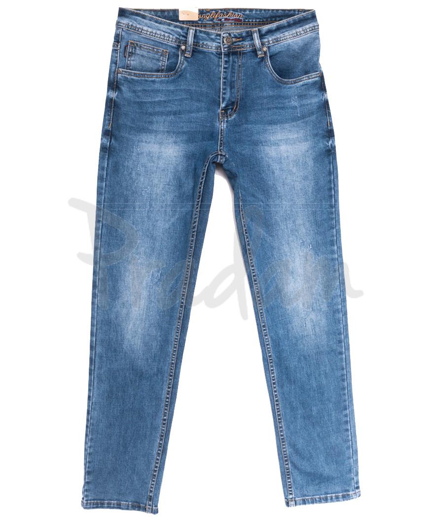 2218 Longli джинсы мужские полубатальные с царапками синие весенние стрейчевые (32-38, 8 ед.)