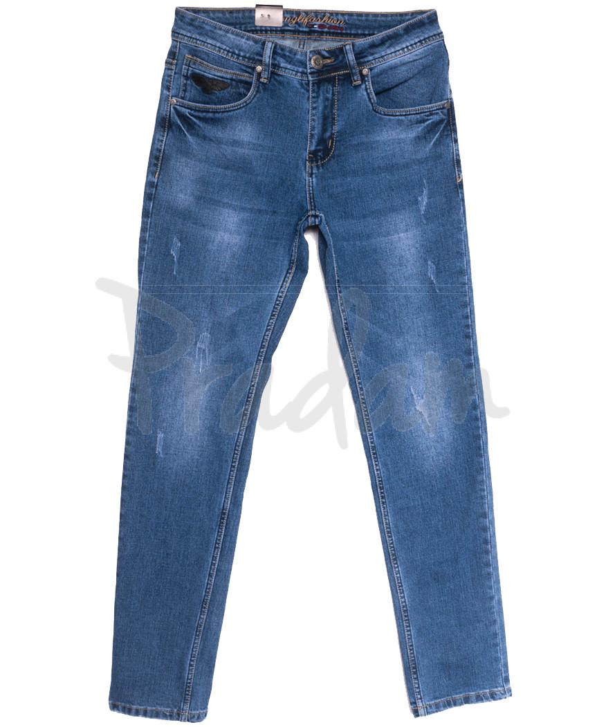 2231 Longli джинсы мужские с царапками синие весенние стрейчевые (30-38, 8 ед.)