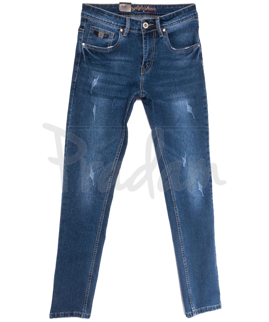 2227 Longli джинсы мужские с царапками синие весенние стрейчевые (29-38, 8 ед.)