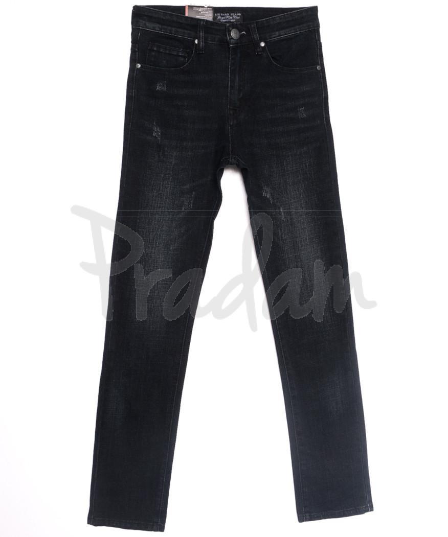 0640-В Likgass джинсы мужские молодежные с царапками  черные весенние стрейчевые (28-36, 8 ед.)